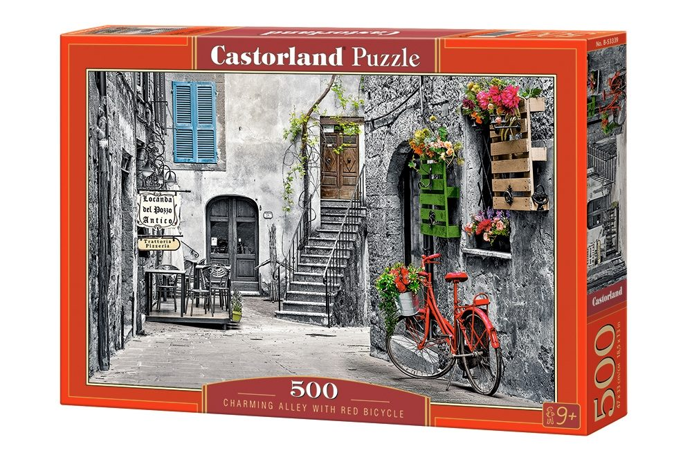 Puzzle Charming Alley with Red Bicycle image 2
